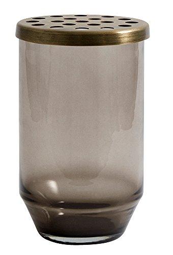 Nordal Vase aus Glas und Metall Schwarz H15cm (S)