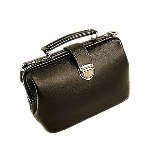 DELEY Femme Vintage Europe Style Sac À Main Totes Épaule Docteur Bag Noir
