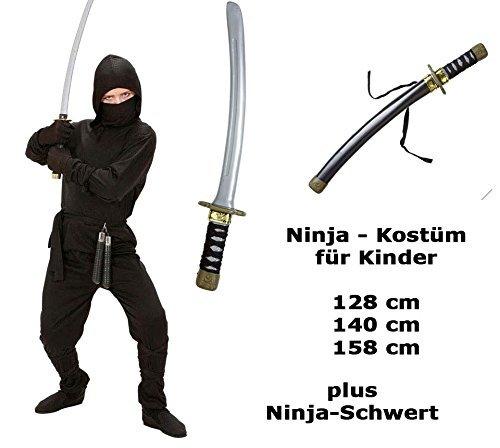 Kostüm Ninja mit Schwert Gr.140 cm - Ninja komplett Ninja Kämpfer (Ninja Schwerter Kostüm)