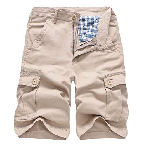 URSING Kurze Hosen Herren Sommer Hose Männer Classic Einfarbig Cargo Shorts Baumwolle Regular Fit Freizeithose Arbeitshosen Freizeitshorts mit Taschen Arbeitshose Streetwear (Khaki,30)