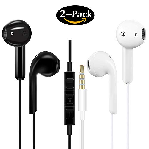 Écouteurs Intra-Auriculaires avec Micro, 2 Pack Écouteurs Intra-Auriculaires Isolant du Bruit Casque Stéréo Jacks 3.5mm Compatibles avec Smartphones Tablet et MP3
