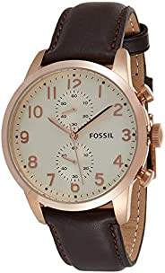 Fossil Men's Cream Dial Leather Band Watch - FS