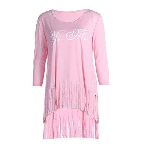 La Cabina Femme Casual Mini Robe Sweat-shirt Top Long Frange Confortable pour Sports & Vie Quotidienne Rose