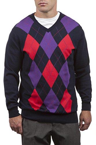 Argyle Pullover Mit V-ausschnitt (Große und britische Strickwaren Herren 100% Baumwolle mit V-Ausschnitt Argyle Pullover. Hergestellt in Schottland-Marine-Large)