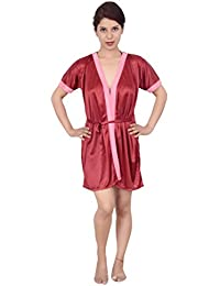 47244a86a0 Rajan   Traders Women s Satin Nightdress Short Nightwear Sleepwear Set  (Free Size)