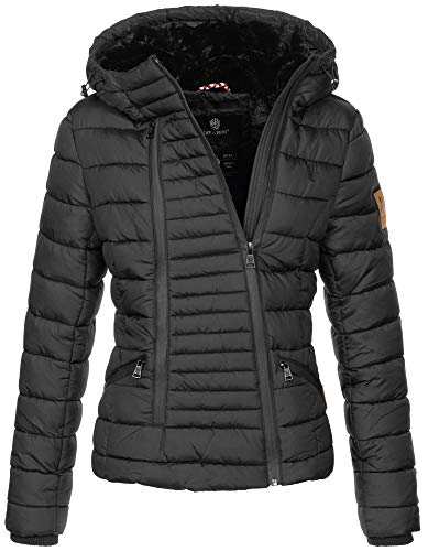 Navahoo Damen Designer Winter Jacke warme Winterjacke Steppjacke Teddyfell B656 [B656-Tabe-Schwarz-Gr.XL]
