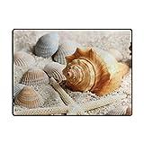 FANTAZIO tappetini per Bambini Conchiglie cozze molluschi Lumaca Tappeto Dritto Tappo del Tappeto Gripper Poliestere Ideale per Cucina/Bagno 63x 48IN/80x 58IN, Poliestere, 1, 63 x 48 inch