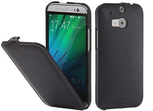 StilGut UltraSlim Case, Hülle Tasche aus Leder für HTC One M8, schwarz Nappa
