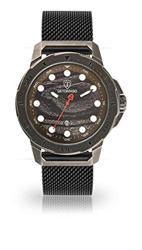 DETOMASO USTICO Herren-Armbanduhr Chronograph Analog Quarz schwarzes Milanaisearmband Camouflage farbenes Zifferblatt DT1084-E-856
