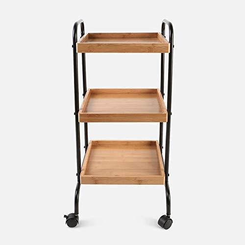 TIANKONG Küchen-bewegliches Regal, Vollenden-Speicher-Speicher-Regal, Hauptwohnzimmer-Blumen-Stand, Multifunktionsspeisewagen-Gestell, verwendbar für Küchen-Wohnzimmer-Hotel (Bambus über Wc Speicher)