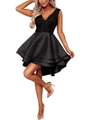 Abend Kleid Party Kleid (Minetom Damen Kleid Sexy V-Ausschnitt Mini Kleider mit Glänzend ärmellose Pailletten Schlank Kurz Ausgestellt Skater Kleider für Party/Abend/Verein/Cocktail/Formal Schwarz DE 40)