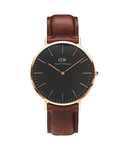 DANIEL WELLINGTON - Reloj de los hombres de 40 mm, DANIEL WELLINGTON NEGRO CLÁSICO ST MAWES ORO ROSA DW00100124