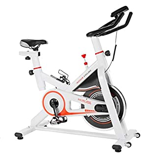 Homgrace Indoor Cycle Cycling Bike Speedbike Heimtrainer Fitnessbike Fitness Fahrrad mit 13KG Schwungrad für Zuhause, bis 150 kg belastbar (Weiß, 103 x 53,5 x 124 cm)