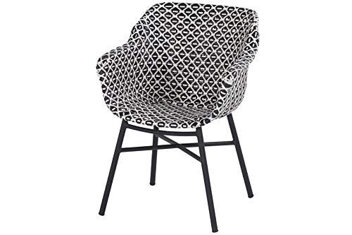 Hartman Delphine Armlehnensessel, schwarz/weiß aus Aluminium & Kunststoff, Balkonstuhl Garten-Stuhl, Sessel für den Garten