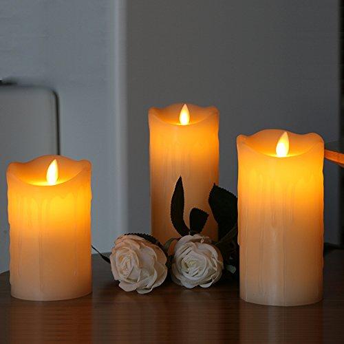 Liqoo 3er Set LED Kerzen, Echtwachs, flammenlose Kerzen, mit beweglicher Flamme, mit 10 Tasten Timer Timerfunktion Fernbedienung, elektronische Kerzen Echtwachs, Led candle Lampe (Twinkle Kürbis)