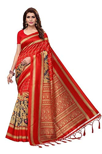 Indian Bollywood Wedding Saree indisch Ethnic Hochzeit Sari New Kleid Damen Casual Tuch Birthday Crop top mädchen Cotton Silk Women Plain Traditional Party wear Readymade Kostüm (Red) -