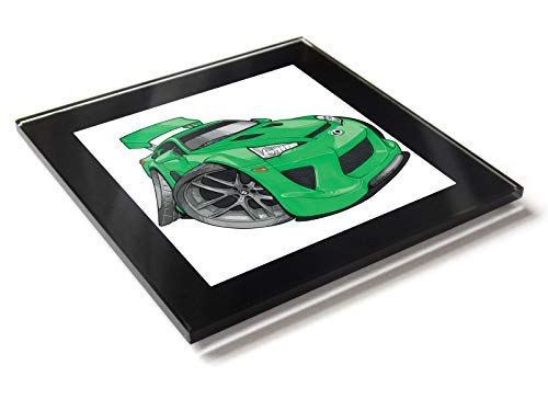 Koolart - Posavasos de cristal para coche Lexus LFA con caja de regalo, verde, 10 cm x 10 cm