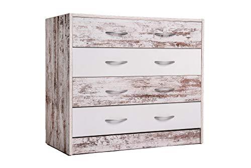 Enrico coveri contemporary mobile cassettiera con 4 cassetti in legno ideale per camera da letto e soggiorno, dimensioni: 80 x 40 x 70 cm l x p x a (bianco rovere)