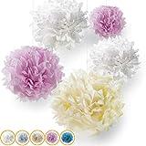 Pumpko 10 Pompons Premium en Papier de Soie pour Votre Mariage | Pompons pour la déco des fêtes d'Anniversaire | Fleurs de Papier pour Un événement spécial | Couleurs Pastel (Rose, crème et Blanc)