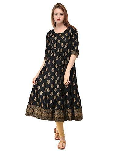 Women Gold Printed Anarkali Beautiful Kurta (Medium-36, Black) -