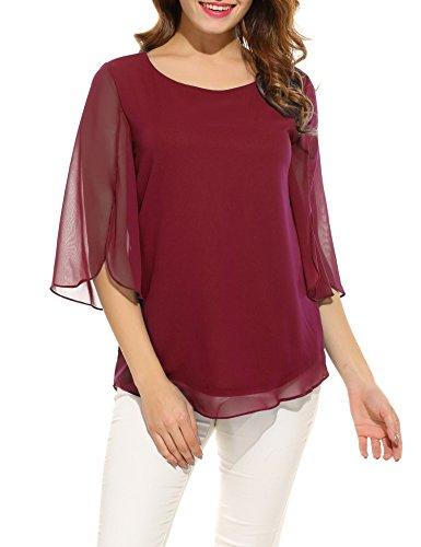ACEVOG Women Summer Chiffon Sleeveless Blouse Crew Neck Shirt (Wine Red) (Medium)