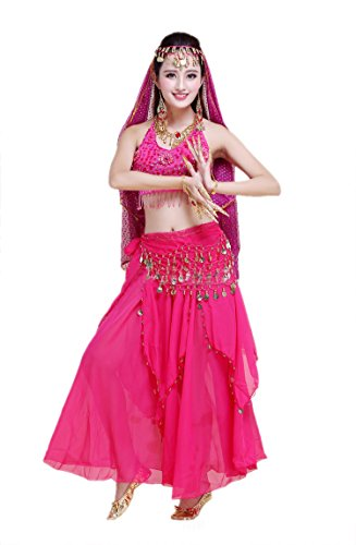 Honeystore 2017 Neuheiten Damen Indien Belly Dance Latein Dance 7PC Kleid mit Pailletten Fuchsie