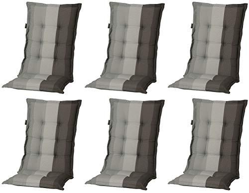 Madison 6 x 8 cm Luxus Hochlehner Auflage C 404 Pete Grey, grau, anthrazit, schwarz gestreift, 120 x...