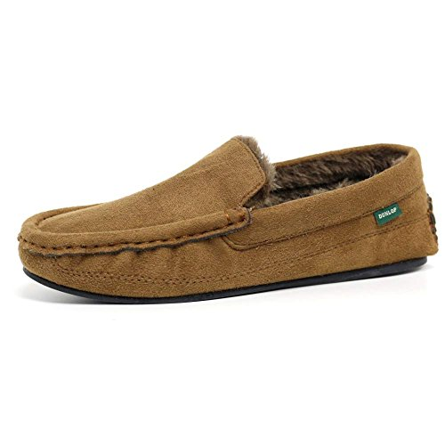 Mens Famous Dunlop GEORGE Moccasin Loafers Faux Sheepskin Fur Slippers with Rubber Sole (9 UK, Tan)