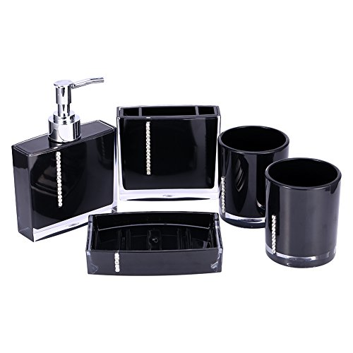 Yosoo 5-Stück Erstklassig Badezimmer Set (aus Hochwertige Acryl mit Diamanten) Bad Accessoire Set Lotion-Flaschen, Zahnbürstenhalter, Zahn-Becher, Seifenschale (Schwarz)