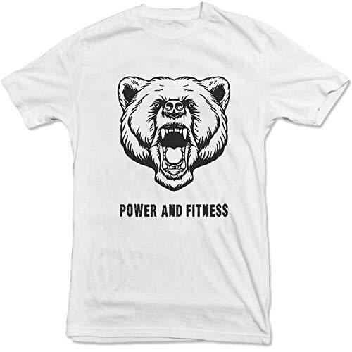 T Shirt Mann Kostüm Pac - Kurzarm Fitness T-Shirt Herren Baumwolle Rundhals Print Slim T-Shirt Weiß S