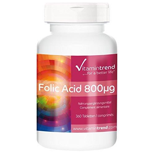Acido folico in compresse 800mcg - 360 compresse - Per 1 anno - Vegan - Vitamina B9
