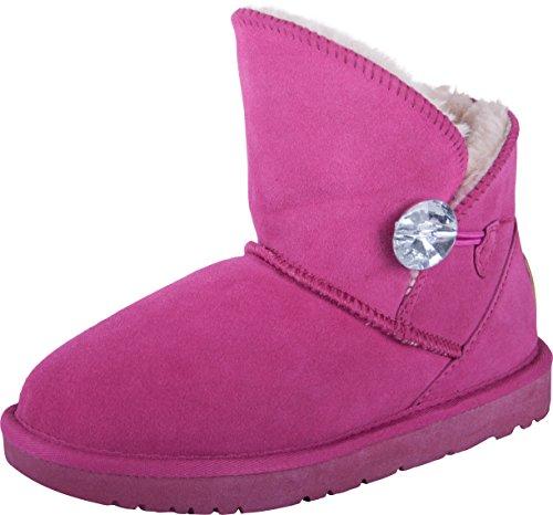 Almwerk Damen Winter-Stiefel Boots kurzschaft aus Echtleder warm gefüttert in verschiedenen Farben, Größe:39, Farbe:Pink