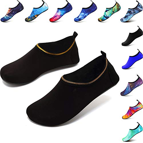 Deevike Wasserschuhe Strandschuhe Schwimmschuhe Barfussschuhe Yoga Aqua Schnell Trocken Socken für Damen Herren Soild Schwarz-44/45