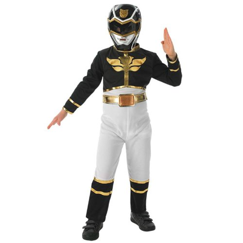 Verkleidung Power Ranger Kostüme Black (Rubies Kinder Kostüm Black Power Ranger Flat Chest,)