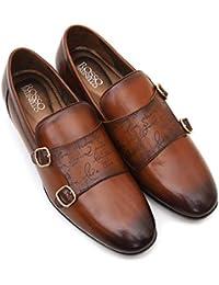 ROSSO BRUNELLO Mens Tan Signato Monk Strap Italian Leather Shoes