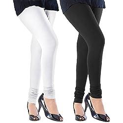 Pi World Women's Cotton Lycra Churidar Leggings Combo (Pack of 2 Black, White) - Free Size