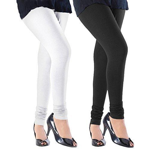 Subh World Women\'s Cotton Lycra Churidar Leggings Combo (Pack of 2 Black, White) - Free Size