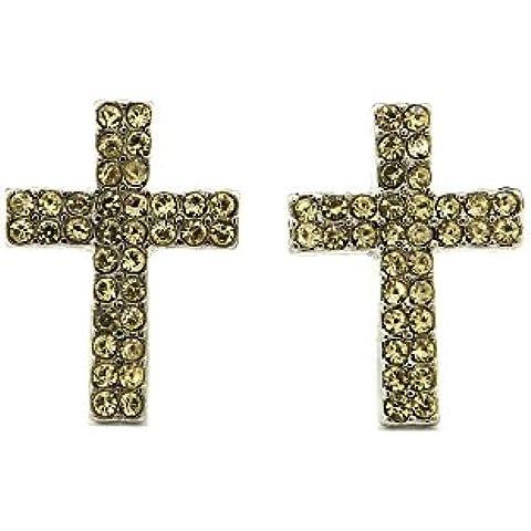Doppia fila giallo pietra orecchini a lobo a forma di croce in argento
