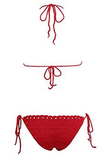 YARBAR Donne Halter di un pezzo dell'alto collo Knit Monokini costume da bagno Rosso