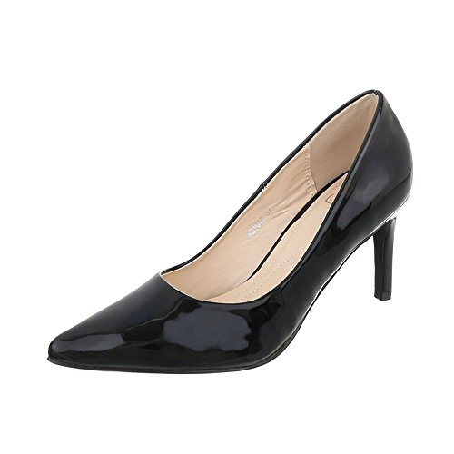 Ital-Design Klassische Pumps Damen-Schuhe Klassische Pumps Pfennig-/Stilettoabsatz High Heels Pumps Schwarz, Gr 39, Ab1016-