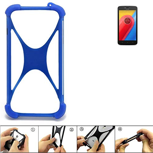 K-S-Trade Handyhülle Lenovo Moto C LTE Silikon Schutz Hülle Cover Case Bumper Silikoncase TPU Softcase Schutzhülle Smartphone Stoßschutz, blau (1x)