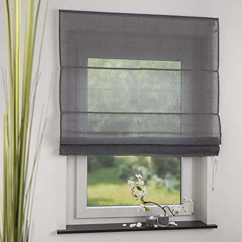 OBI Raffrollo Raffvorhang Raffgardine Leinen Grau | 120 x 170 cm