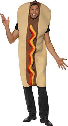 Riesen Hot-Dog vorne mit Ketchup-Effekt Voller Bodysuit, Medium