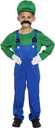 SUPER MARIOS BRO CHILDRENS PLUMBERS OVERALLS - GREEN - LARGE