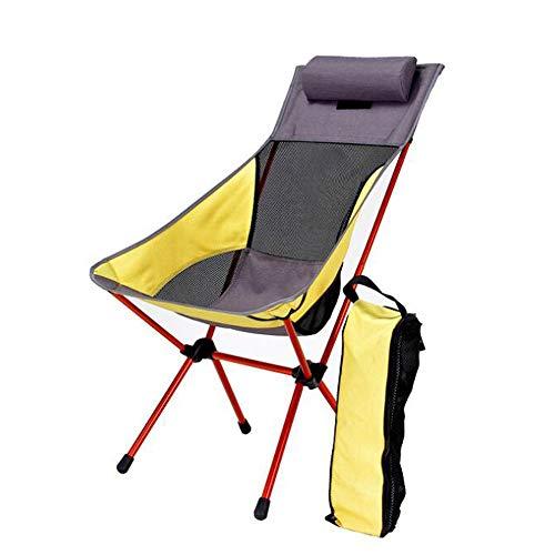 ZY Klappstuhl mit Kissen im freien mond Stuhl Freizeit Ultraleicht tragbare Dicke aluminiumlegierung hoch zurück Camping Stuhl - Hohe Zurück Stuhl Im Freien Kissen