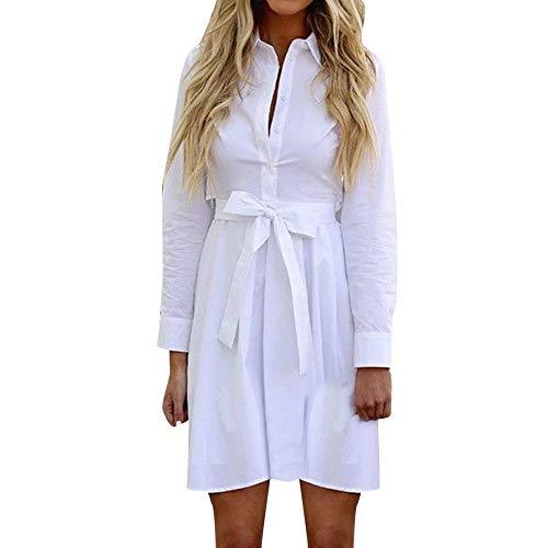 KEYIA Frauen beiläufige Feste Lange Hülsen-Leinengürtel-Knopf-Öffnungs-Hemd-Minikleid (Coral Kleid Junior)