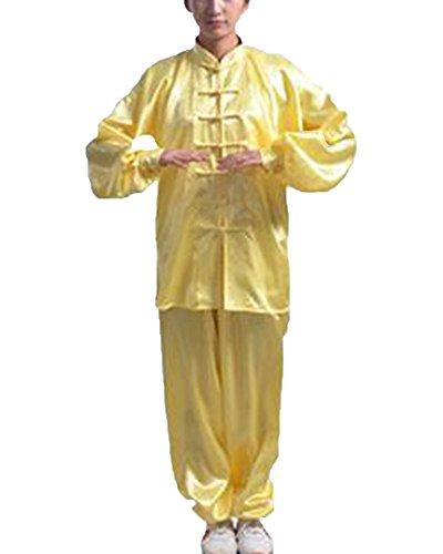 ShiFan Bequem Kung Fu Uniform Tai Chi Kampfkunst Kleidung Wushu Anzug Trainingsanzug Tops Und Hose Unisex Gelb 3XL