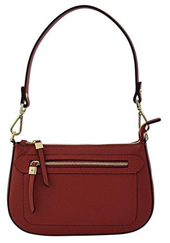 ALLEGRA Henkeltaschen Schultertaschen Handtaschen Tasche Damen Echtes Leder Made in Italy Rot