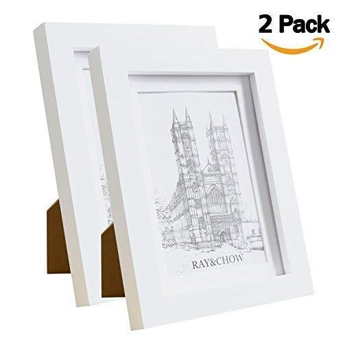 ß Bilderrahmen - Echtholz- Glasscheibe - mit 10x15cm Passepartout- Rahmenbreite von 2cm - 2er ()