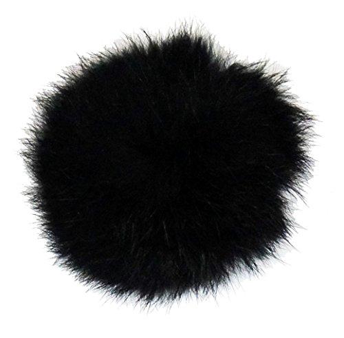 Kaninchen Pelz Schwarz Mantel (HAND Schwarze Dekorative Kaninchen-Pelz Pom Pom Borte 7cm Durchmesser sortierte Farben - 4er-Pack)